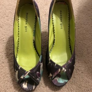 Madden girl heels turquoise and purple